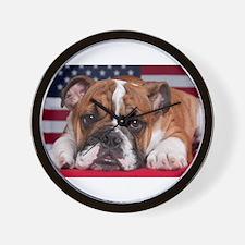 Patriotic Bulldog Wall Clock