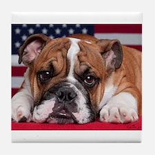 Patriotic Bulldog Tile Coaster