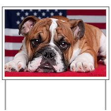 Patriotic Bulldog Yard Sign