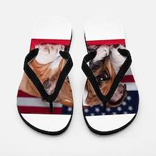 Patriotic Bulldog Flip Flops