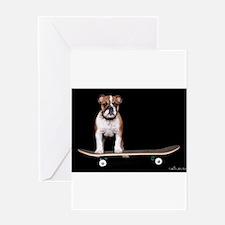 Skateboard Bulldog Greeting Card