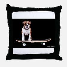 Skateboard Bulldog Throw Pillow