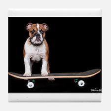 Skateboard Bulldog Tile Coaster