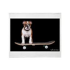 Skateboard Bulldog Throw Blanket