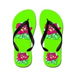 Green Rose Flip Flops