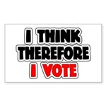 I Think Therefore I Vote Sticker (Rectangle)