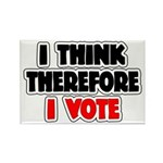 I Think Therefore I Vote Rectangle Magnet