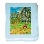 Horse in a Tropical Pasture baby blanket