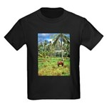 Horse in a Tropical Pasture Kids Dark T-Shirt