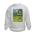 Horse in a Tropical Pasture Kids Sweatshirt