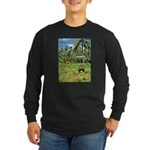 Horse in a Tropical Pasture Long Sleeve Dark T-Shi