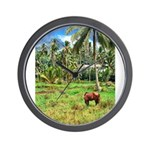 Horse in a Tropical Pasture Wall Clock