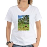 Horse in a Tropical Pasture Women's V-Neck T-Shirt