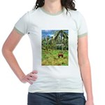 Horse in a Tropical Pasture Jr. Ringer T-Shirt