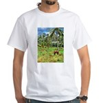 Horse in a Tropical Pasture White T-Shirt