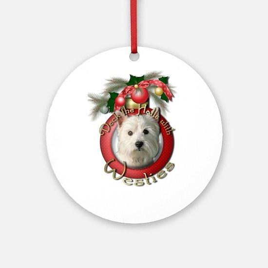 Christmas - Deck the Halls - Westies Ornament (Rou