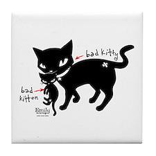 Bad Kitten Tile Coaster