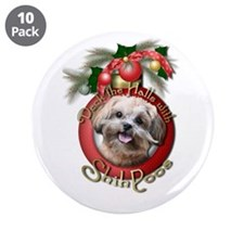 """Christmas - Deck the Halls - ShihPoos 3.5"""" Button"""