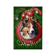 Christmas - Deck the Halls - Shelties Rectangle Ma