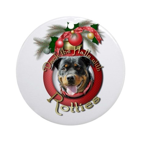 Christmas - Deck the Halls - Rotties Ornament (Rou