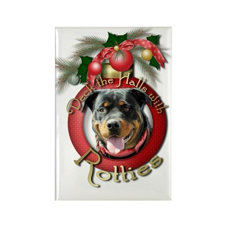 Christmas - Deck the Halls - Rotties Rectangle Mag