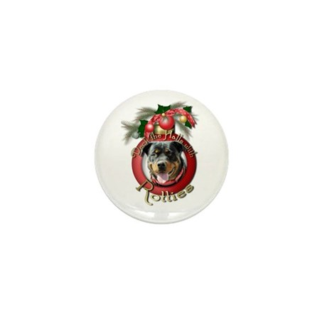Christmas - Deck the Halls - Rotties Mini Button (