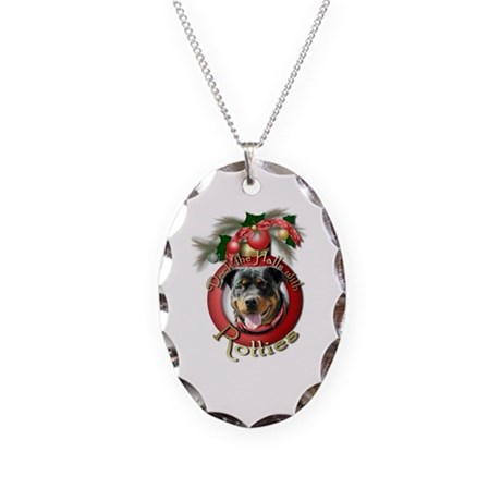 Christmas - Deck the Halls - Rotties Necklace Oval