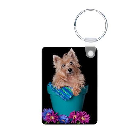 Cairn Terrier Bloom Aluminum Photo Keychain