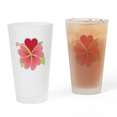 Hibiscus Heart Drinking Glass