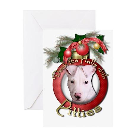 Christmas - Deck the Halls - Pitbull Greeting Card