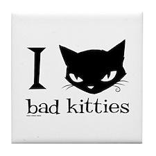 I Heart Bad Kitties Tile Coaster