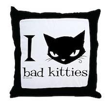 I Heart Bad Kitties Throw Pillow
