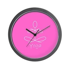 Yoga in Pink Wall Clock