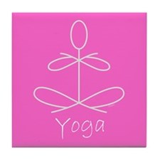 Yoga in Pink Tile Coaster