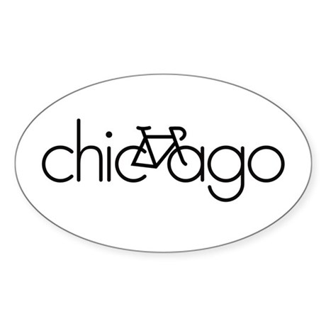 Bike Chicago Sticker (Oval)