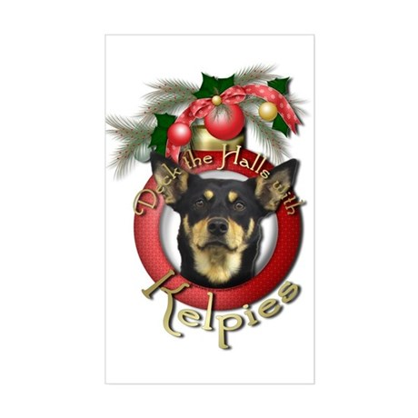 Christmas - Deck the Halls - Kelpies Sticker (Rect