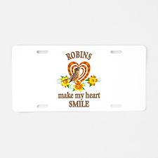 Robin Smile Aluminum License Plate