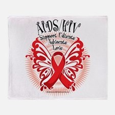 AIDS/HIV Butterfly 3 Throw Blanket