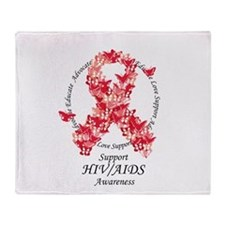 AIDS Butterfly Ribbon Throw Blanket