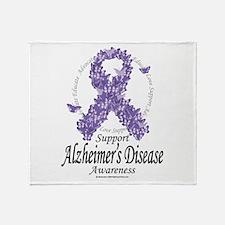 Alzheimer's Ribbon Of Butterf Throw Blanket