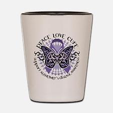 Alzheimers Peace Love Cure Tr Shot Glass