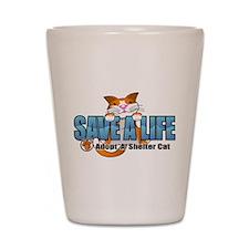 Shelter Cat/ Blue Shot Glass