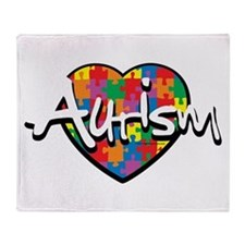 Autism Puzzle Heart Throw Blanket
