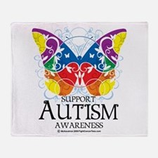 Autism Butterfly Throw Blanket