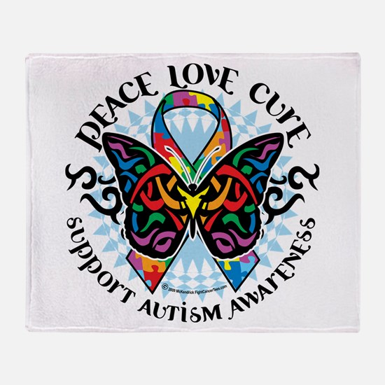 Autism Tribal Butterfly 2 Throw Blanket