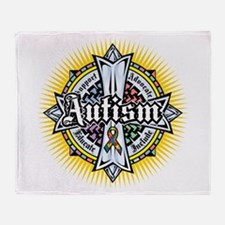 Autism Celtic Cross Throw Blanket
