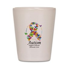 Autism Butterfly Ribbon Shot Glass