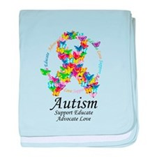 Autism Butterfly Ribbon baby blanket