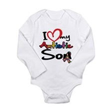 I Love My Autistic Son 2 Long Sleeve Infant Bodysu