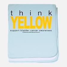 Bladder Cancer Think Yellow baby blanket